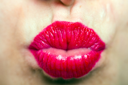 kissing lips: a beautiful sexy red lips giving kiss