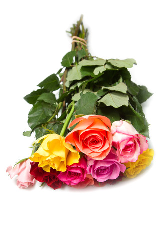 bouquet of colorful  roses on white background photo