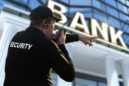 officers: bank security officer Stock Photo