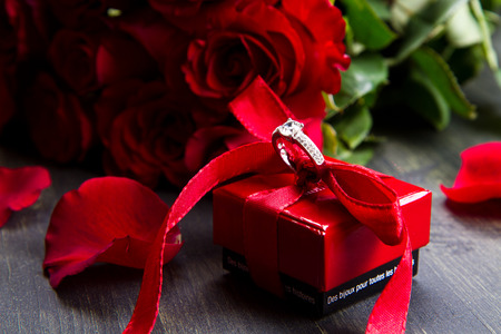 valentine day Red roses and  ring box photo
