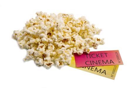 pop corn and cinema tickets photo
