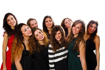 Groupe des amis de la fille isolée sur un fond blanc Banque d'images - 36867223
