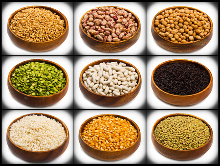 rice bowl: collage of different type of legumes isolated on white
