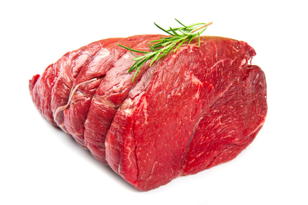 beef cuts: Crude meat on white close up