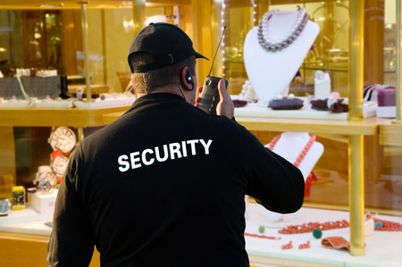 clothing shop: jewelery security Stock Photo