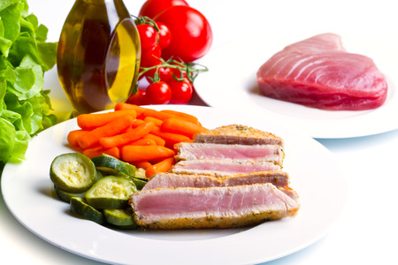 tuna fillet: Tuna fillet with vegetables Stock Photo