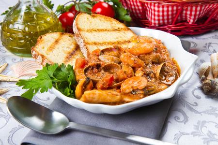seafood soup: Dish of fresh seafood soup Stock Photo