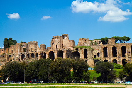 Baths of Caracalla seen from the Circus Maximus in Rome Stock Photo