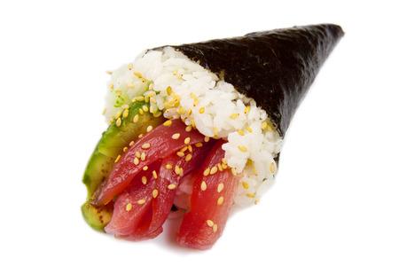 soysauce: Tuna Sushi Cone isolated on white background