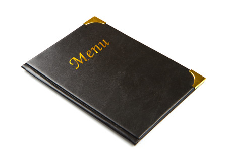 hospitality staff: Menu book in black tone isolated on white Stock Photo