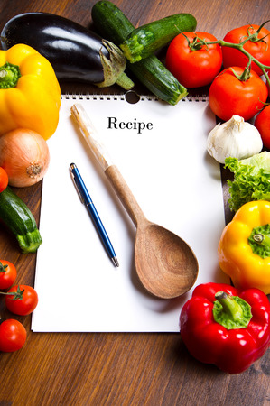 recipe book: blank recipe book and food ingredients Stock Photo