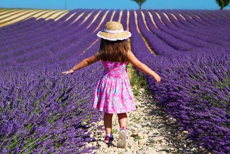 ラベンダー畑を歩いてピンクのドレスの女の子