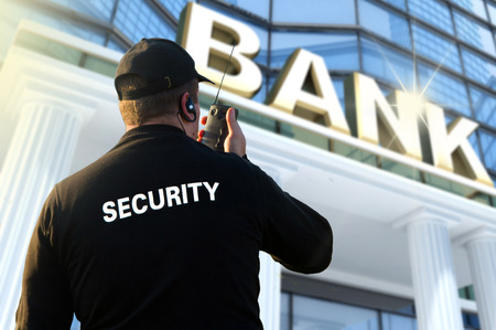 bank protection: bank security officer Stock Photo