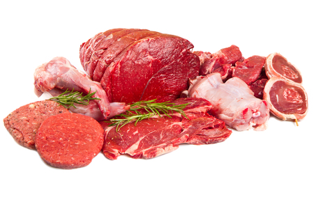 raw beef: Raw meat mix isolated on white