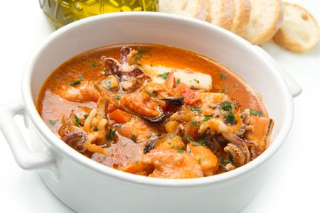 seafood soup: Bowl of fresh seafood soup