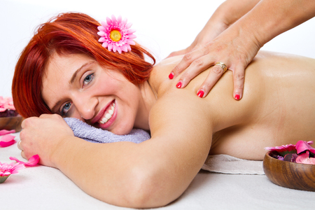 salon and spa: Masseur doing massage on woman body in the spa salon