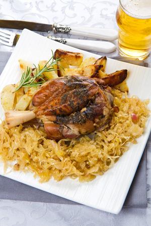 shank: pork shank with sauerkraut