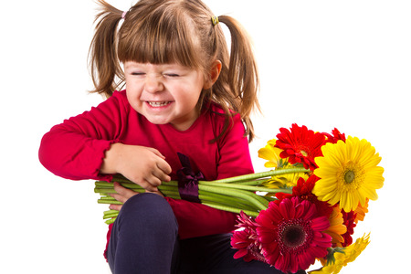 cute little girl: Cute little girl with gerbera flowers bouquet