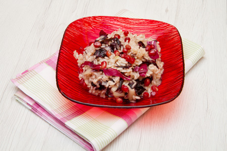 radicchio: radicchio risotto on dish
