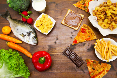 fat food: group of diet  food and fat food