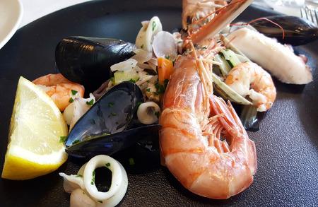 seafood salad: Seafood salad, selective focus Stock Photo