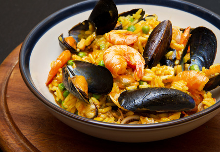 prawn: dish with paella  and seafood Stock Photo