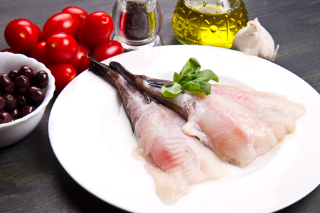 gutted: Fresh fish monkfish with ingredients