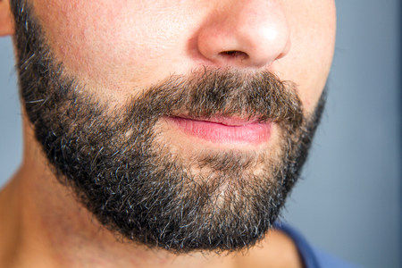 man with beard: Closeup of beard and mustache man