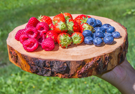 good food: berries on cutting board with green grass background