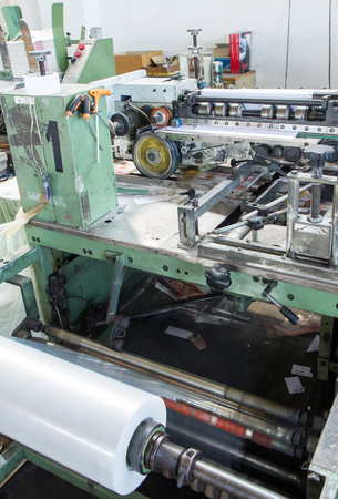 cellophane: machinery specialized in a firm paper cellophane Stock Photo