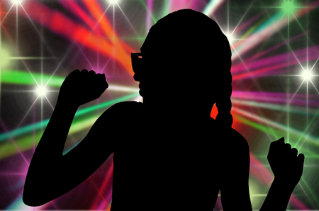discoteque: shape of young girl in discoteque Stock Photo