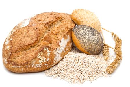 multi grain: healthy multi grain bread on white Stock Photo