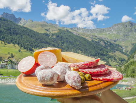 salami and cheese plate Stock Photo - 82122796
