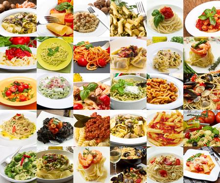 Collage de diferentes platos de pasta de la cocina italiana