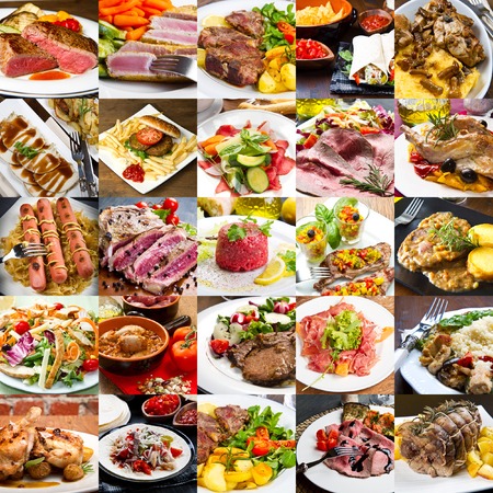 photo collage of meat dishes of international cuisine