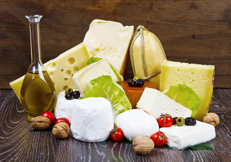 delicatessen: various types of international soft and hard cheese
