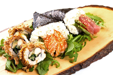 mixed sushi on wood dish Stock Photo