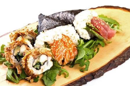 soysauce: mixed sushi on wood dish Stock Photo