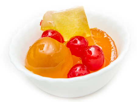 sweet mustard: Italian Mustard with candied fruit and syrup on white bowl