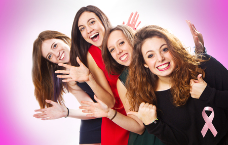favor: group of girls for the fight against cancer Stock Photo