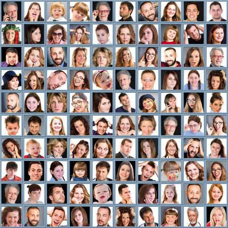 Collage de femme et homme avec différentes expressions et humeurs Banque d'images - 73519590