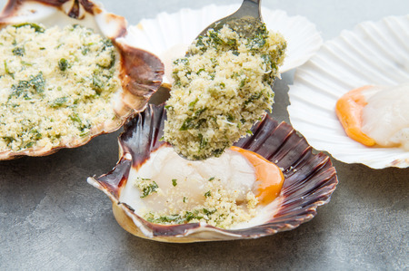 Fresh scallops with bread and parsley gratin
