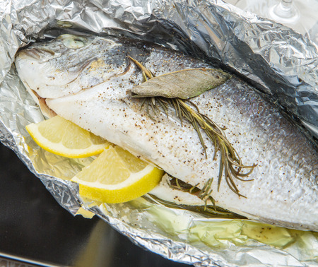 bream baked with flavors and lemon