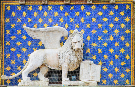 Statue of the winged lion symbol of Venice Stock Photo