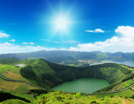 Sete Cidades, 아 조레스 제도, 포르투갈 유럽의 아름다운 호수 스톡 콘텐츠
