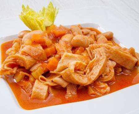 white dish with trippa