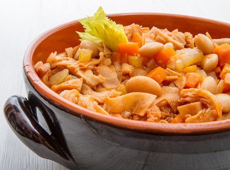 platter with tripe and beans