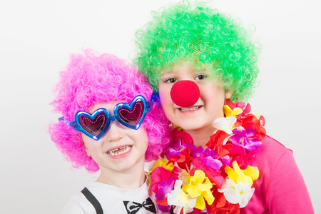 little happy children with carnival mask Stock Photo