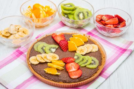 chocolate tarte with mixed fresh fruit