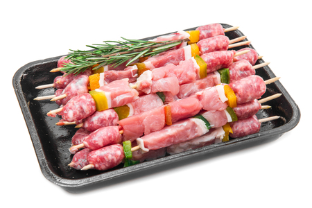 Group of meat skewers with rosemary